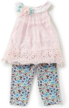 Rare Editions Baby Girls 12-24 Months Embroidered Mesh Dress & Floral Leggings Set