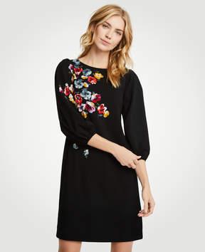 Ann Taylor Tall Winter Floral Puff Sleeve Shift Dress