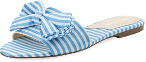 Charles David Slipper Canvas Bow Flat Slide Sandal