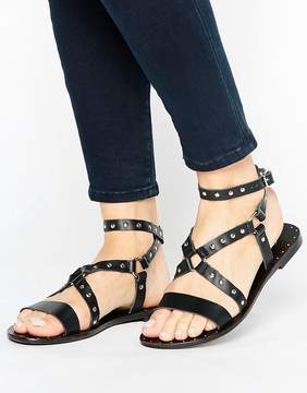 Park Lane Leather and Stud Strappy Flat Sandal