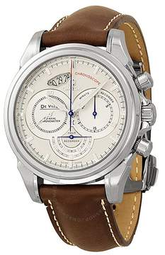 Omega De Ville Co-Axial Chronoscope Silver Dial Stainless Steel Brown Leather Men's Watch