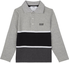 BOSS Block stripe long-sleeve polo shirt 4-16 years