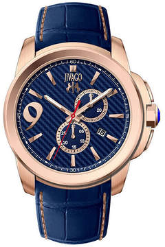 Jivago Mens Gliese Blue Leather Strap Watch