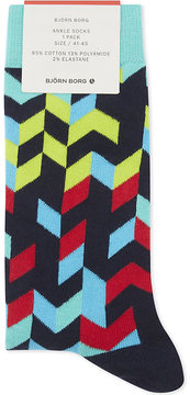 Bjorn Borg Mens Blue Ribbed Comfortable Cotton-Blend Ankle Socks