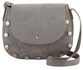 Neiman Marcus Mixed Media Saddle Crossbody Bag