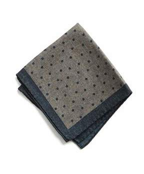 Todd Snyder Italian Wool Pocket Square in Grey Dot