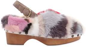 Mou 40mm Patchwork Mink Fur Studded Clog