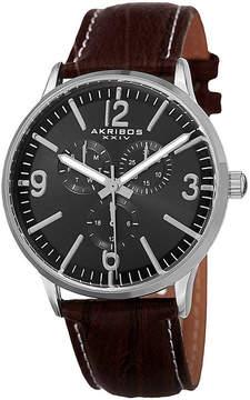 Akribos XXIV Mens Brown Strap Watch-A-769ssb