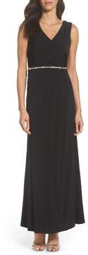 Ellen Tracy Women's Embellished Drape Back Gown