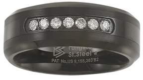 Armani Exchange Jewelry Black Tungsten Carbide Diamond Mens Wedding Band .20ctw H-i I2.