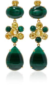 Bounkit Malachite and Lemon Quartz Four-Way Earrings