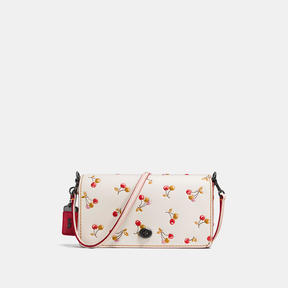 COACH DINKY IN GLOVETANNED LEATHER WITH CHERRY PRINT - BLACK COPPER/CHALK
