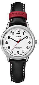 Timex Ladies Stainless Black Leather Strap Analog Watch