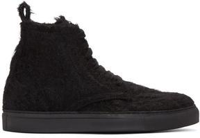 Ann Demeulemeester Black Mohair High-Top Sneakers