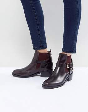 Carvela Saddle Leather Buckle Flat Ankle Boots