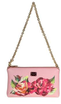 Dolce & Gabbana Micro Bag In Floral Printed Leather - PINK - STYLE