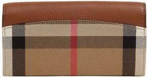 Burberry Check & Leather Continental Wallet - TAN - STYLE