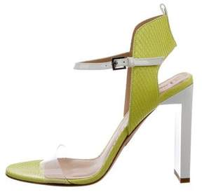 Reed Krakoff Embossed Leather PVC-Trimmed Sandals w/ Tags