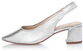 River Island Womens Silver leather slingback pumps