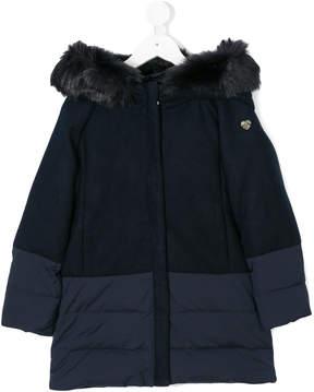 Armani Junior padded coat with faux fur trim hood