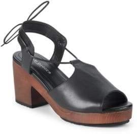 Kelsi Dagger Brooklyn Self-Tie Leather Block Heel Sandals