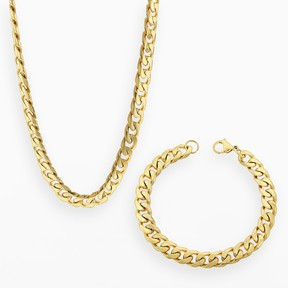 Lynx Yellow Ion-Plated Stainless Steel Curb Chain Necklace & Bracelet Set - Men