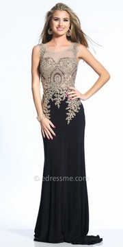 Dave and Johnny Royal Embellished Illusion Back Evening Gown