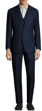English Laundry Men's Wool Speckled Notch Lapel Three Piece Suit