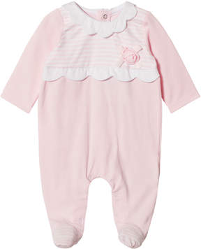Mayoral Pink Stripe and Flower Applique Babygrow