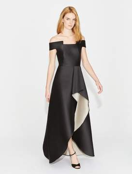 Halston Off Shoulder Geo Neck Gown
