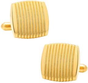 Ox & Bull Trading Co. Men's Stainless Steel Gold Ribbed Square Cufflinks