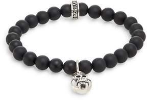 King Baby Studio Men's Onyx & Sterling Silver Beaded Skull & Crossbones Charm Bracelet