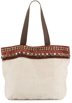 Ale by Alessandra Cleopatra Beaded & Embellished Linen Tote Bag