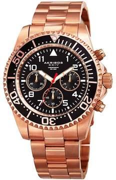 Akribos XXIV Black Dial Chronograph Rose Gold-Tone Men's Watch