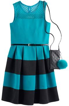 Knitworks Girls 7-16 & Plus Size Belted Textured Skater Dress with Crossbody Purse