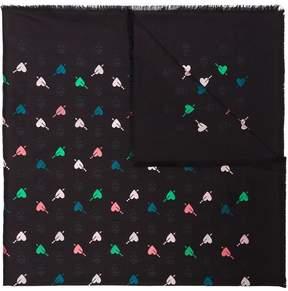 Alexander McQueen Black Heart and Skull Print Wool Silk Blend Scarf