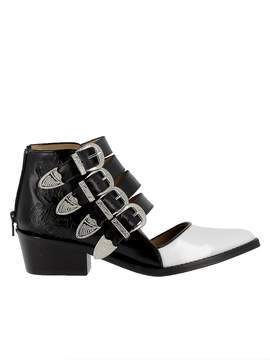 Toga Pulla Aj617 Black Normal Leather White/black Leather Ankle Boots