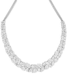 Arabella Swarovski Cubic Zirconia Cluster Statement Necklace in Sterling Silver