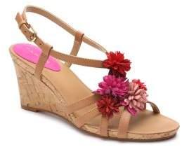Tahari Favor Floral Leather Wedge Sandals