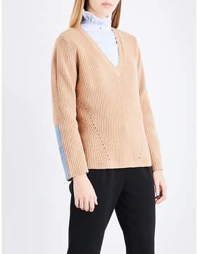 Claudie Pierlot V-neck wool and cashmere-blend jumper