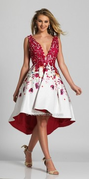 Dave and Johnny Lace Applique Rose Printed High-low Cocktail Dress