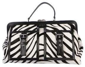 Celine Leather-Trimmed Ponyhair Handle Bag