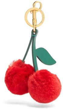 Anya Hindmarch Cherry rabbit-fur key ring
