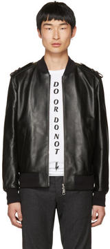 Neil Barrett Black Leather Military Bomber Jacket