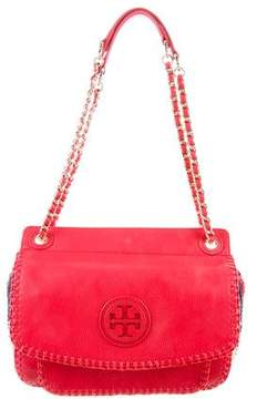 Tory Burch Straw-Trimmed Small Marion Bag - PINK - STYLE