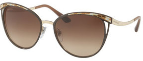 Bvlgari Etched Mirrored Butterfly Sunglasses, Brown/Gold