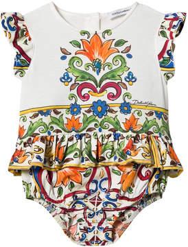 Dolce & Gabbana White and Majolica Print Frill Sleeve Body Dress