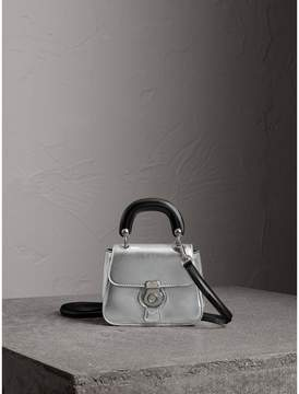 Burberry The Mini DK88 Top Handle Bag in Metallic Leather - SILVER - STYLE