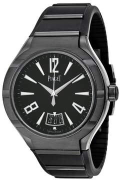 Piaget Polo FortyFive Automatic Black Dial Rubber Men's Watch
