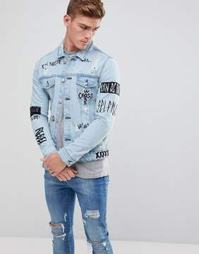 ONLY & SONS Denim Jacket With All Over Print